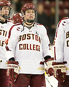 Bill Arnold (BC - 24) - The Boston College Eagles defeated the Merrimack College Warriors 4-2 to give Head Coach Jerry York his 900th collegiate win on Friday, February 17, 2012, at Kelley Rink at Conte Forum in Chestnut Hill, Massachusetts.