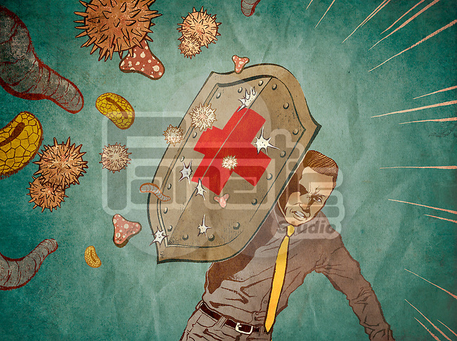 Conceptual image of man fighting with antivirus depicting medical insurance over colored background