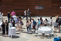 Lunch break outside the Hammetman Career Center of AGC. Occidental College hosts TEDxOccidentalCollege on April 21, 2018 in Choi Auditorium of Johnson Hall. Students, faculty, alums and guest speakers delivered their TEDx Talk on the theme, Shifting Ecosystems of Power.<br /> (Photo by Marc Campos, Occidental College Photographer)
