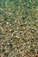 Colorful pebbles shimmering in the pristine waters of Lake Michigan.