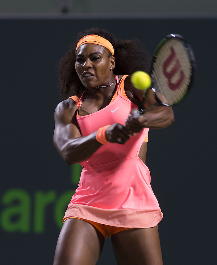 KEY BISCAYNE, FL - April 02: Serena Williams (USA) in action here defeats Simona Halep (ROU) 62 46 75 at the 2015 Miami Open at the Crandon Tennis Center in Key Biscayne Florida.  <br /> Photographer Andrew Patron<br /> <br /> Tennis - 2015 Miami Open presented by Itau - Crandon Park Tennis Center - Key Biscayne, Florida - USA - Day 11, Thursday 2nd April 2015<br /> <br /> &copy; CameraSport - 43 Linden Ave. Countesthorpe. Leicester. England. LE8 5PG - Tel: +44 (0) 116 277 4147 - admin@camerasport.com - www.camerasport.com