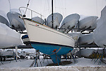 Boats on dryland stored for winter.