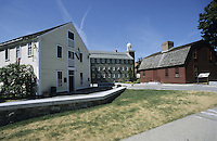 Pawtucket, R.I..Historic Slater's Mill (ca 1790) (at L.), Wilkinson's Mill (1811), (ctr.) and the Sylvanus Brown House (1758, at Rt.). These mills brought the textile industry to the US .