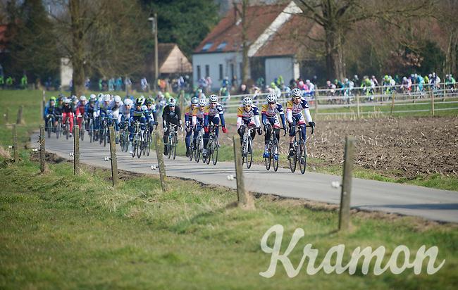 3 Days of De Panne.stage 1: Middelkerke - Zottegem..Lotto-Belisol leading a stretched peloton