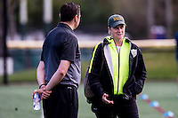 Allston, MA - Sunday, May 22, 2016: FC Kansas City head coach Vlatko Andonovski talks with USWNT coach Jill Ellis prior a regular season National Women's Soccer League (NWSL) match at Jordan Field.