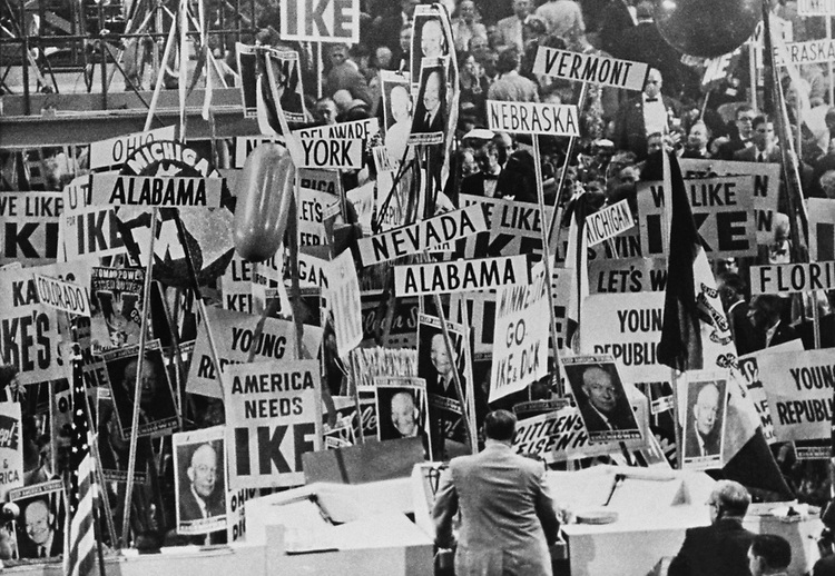 Chairman Joseph William Martin stands facing a sea of state barriers/sign after nomination of President Dwight D. Eisenhower in San Francisco, California, in 1956. Photo from the Libaray of Congress. (Photo by CQ Roll Call via Getty Images)