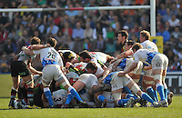 24.3.2012. London, England. The scrum collapses during the Aviva Premiership match between Harlequins and Bath Rugby at Twickenham Stoop on March 24, 2012 in Twickenham, England.