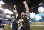 Norichika Aoki (Royals),<br /> OCTOBER 5, 2014 - MLB :<br /> Norichika Aoki of the Kansas City Royals celebrates after winning the American League Division Series (ALDS) Game 3 against the Los Angeles Angels at Kauffman Stadium in Kansas City, Missouri, United States. (Photo by AFLO)