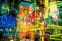 USA, New York, New York City. Times Square.  Multiple exposures of neon signs<br />