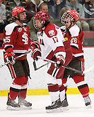 Patrick Raley (St. Lawrence - 25), Sean Logue (St. Lawrence - 17), Kyle Essery (St. Lawrence - 26) - The Harvard University Crimson defeated the St. Lawrence University Saints 4-3 on senior night Saturday, February 26, 2011, at Bright Hockey Center in Cambridge, Massachusetts.