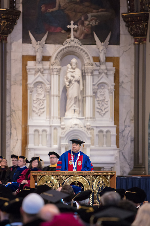 A. Gabriel Esteban, Ph.D., president, offers remarks at the 120th DePaul University Convocation on Thursday, August 31, 2017, at St. Vincent de Paul Parish Church. Marten denBoer, provost, also provided remarks, and many faculty and staff were recognized with annual awards including: Excellence in Teaching, Spirit of Inquiry, Excellence in Public Service, Vincent de Paul Professorship, Spirit of DePaul, Staff Quality Service, Gerald Paetsch Academic Advising and faculty promotion and tenure. (DePaul University/Jeff Carrion)