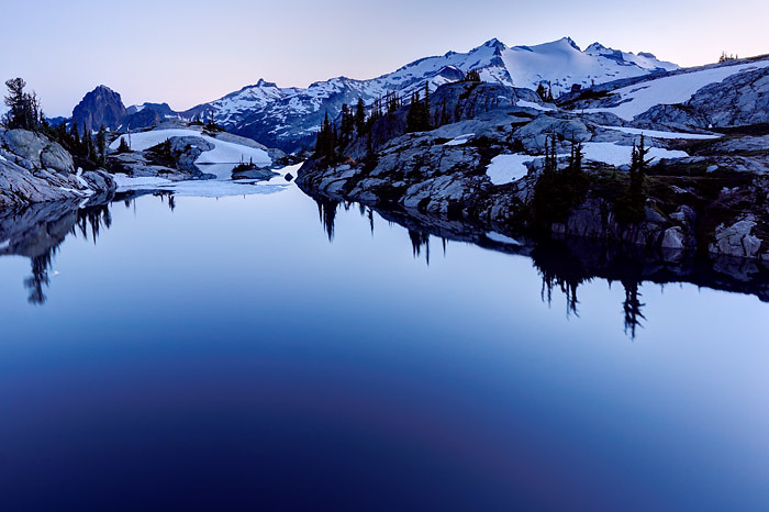 Dusk falls over Robin Lakes, Wenatchee Mountains, Mount Daniel in background, central Washington Cascade Mountains