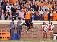 Nov 13, 2010; Charlottesville, VA, USA;  Virginia Cavaliers wide receiver E.J. Scott (84) makes a touchdown catch during the 1st half of the game against the Maryland Terrapins at Scott Stadium.  Mandatory Credit: Andrew Shurtleff