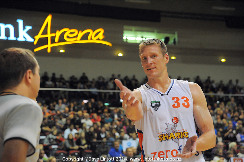 Dave Gruber argues with the umpire during the national basketball league match between Wellington Saints and Southland Sharks at TSB Bank Arena, Wellington, New Zealand on Thursday, 17 April 2014. Photo: Dave Lintott / lintottphoto.co.nz