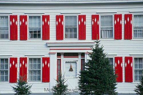 Exterior new England farm house in red and white, Vermont