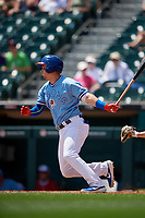 Buffalo Bisons Andy Burns (9) hits a single during an International League game against the Lehigh Valley IronPigs on June 9, 2019 at Sahlen Field in Buffalo, New York.  Lehigh Valley defeated Buffalo 7-6 in 11 innings.  (Mike Janes/Four Seam Images)