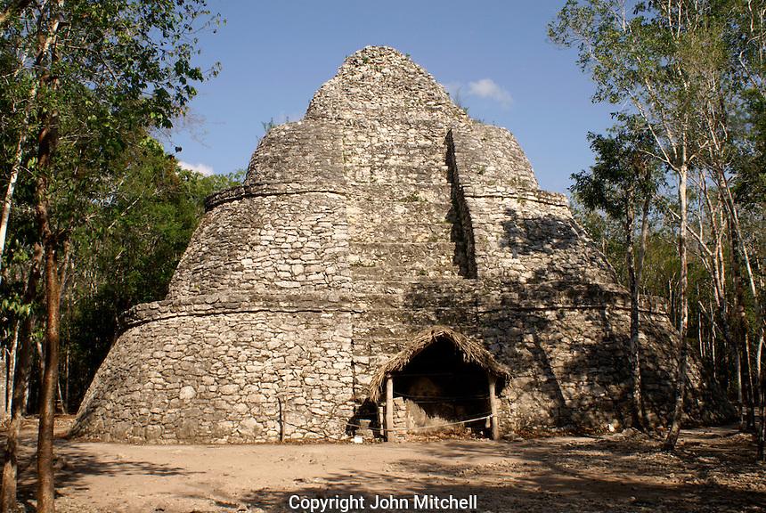 Xaibe or Crossroads pyramid at the Mayan ruins of Coba, Quintana Roo, Mexico.