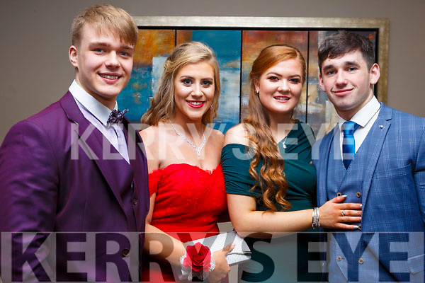 Attending the Mercy Mounthawk Debs at the Ballyroe Heights Hotel on Thursday night last., l to r, Dovydas Baltonis (Tralee) , Lorna Moriarty (Tralee), Katie Ryan (Tralee) and Aiden Mangan (Tralee).