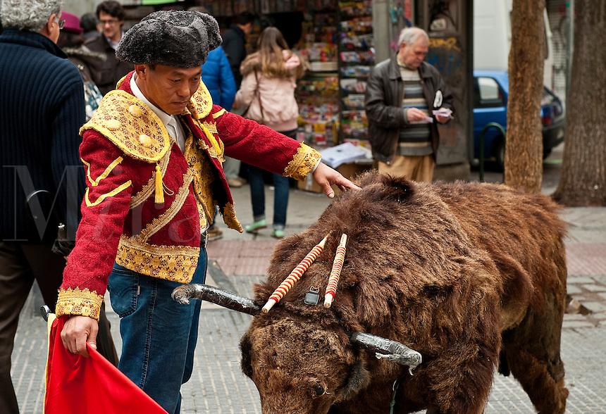 Street performing matador, Madrid, Spain