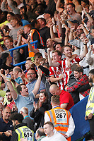 Sheffield United fans celebrate during the Premier League match between Chelsea and Sheff United at Stamford Bridge, London, England on 31 August 2019. Photo by Carlton Myrie / PRiME Media Images.