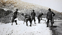 BNPS.co.uk (01202 558833)<br /> Pic: LaceyScott&Knight/BNPS<br /> <br /> Indian troops clearing snow.<br /> <br /> From the far reaches of the British Empire - Remarkable previously unseen photos of a forgotten military campaign has come to light 100 years later.<br /> <br /> The little known Waziristan campaign of 1919 and 1920 saw the British and Indian forces engaged in fierce fighting against Afghan tribesman who invaded northern India.<br /> <br /> However, the conflict, which saw the use of the might of the RAF in targeted bombing raids, has become almost lost to history since it took place just after the Great War.<br /> <br /> The battleground was the rugged, remote, mountainous region which is modern day northern Pakistan, on the southern border of Afghanistan.