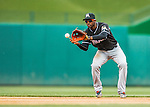 15 May 2016: Miami Marlins shortstop Adeiny Hechavarria in action against the Washington Nationals at Nationals Park in Washington, DC. The Marlins defeated the Nationals 5-1 in the final game of their 4-game series.  Mandatory Credit: Ed Wolfstein Photo *** RAW (NEF) Image File Available ***