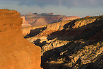 Sulphur Creek and the Goosenecks overlook at sundown, Capitol Reef National Park, Utah