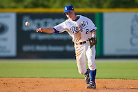 Shortstop Alex McClure #2 of the Burlington Royals makes a throw to first base against the Kernersville Bulldogs in an exhibition game at Burlington Athletic Stadium June20, 2010, in Burlington, North Carolina.  Photo by Brian Westerholt / Four Seam Images