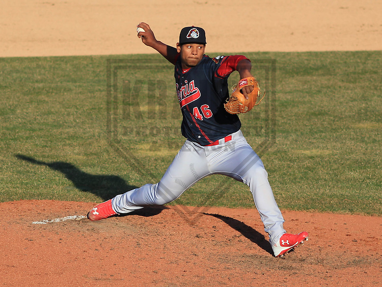 APPLETON - April 2015: pitcher Fernando Baez (46) of the Peoria Chiefs during a game against the Wisconsin Timber Rattlers on April 12th, 2015 at Fox Cities Stadium in Appleton, Wisconsin. (Photo Credit: Brad Krause)
