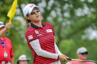Na Yeon Choi (KOR) watches her tee shot on 18 during Friday's round 2 of the 2017 KPMG Women's PGA Championship, at Olympia Fields Country Club, Olympia Fields, Illinois. 6/30/2017.<br /> Picture: Golffile | Ken Murray<br /> <br /> <br /> All photo usage must carry mandatory copyright credit (&copy; Golffile | Ken Murray)