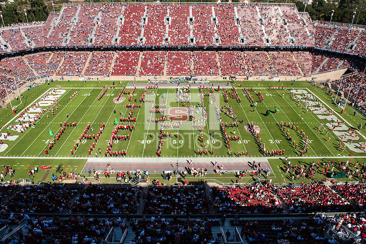 STANFORD, CA - OCTOBER 19, 2013: The band at half time during Stanford's game against UCLA. The Cardinal defeated the Bruins 24-10.