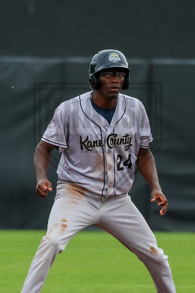 Kane County Cougars outfielder Marcus Wilson (24) during a Midwest League game against the Wisconsin Timber Rattlers on June 11, 2017 at Fox Cities Stadium in Appleton, Wisconsin.  Kane County defeated Wisconsin 6-4. (Brad Krause/Krause Sports Photography)