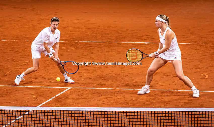 The Hague, The Netherlands, Februari 8, 2020,    Sportcampus, FedCup  Netherlands -  Balarus, Doubles: Bertens/Schuurs (NED)<br /> Photo: Tennisimages/Henk Koster