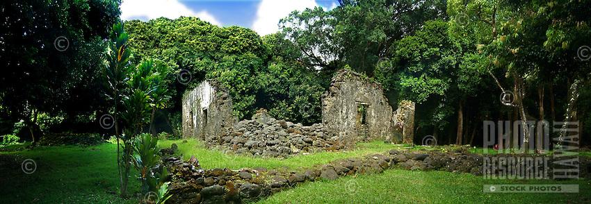 Ruins of King Kamehameha's summer house in Nu'uanu, O'ahu
