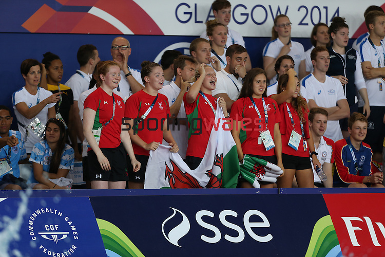 Glasgow 2014 Commonwealth Games<br /> Welsh swimming squad members cheering on Jazz Carlin in the women's 1500m Backstroke.<br /> <br /> 28.07.14<br /> ©Steve Pope-SPORTINGWALES