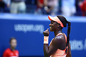 9th September 2017, FLushing Meadows, New York, USA;  SLOANE STEPHENS (USA) celebrates after winning the women's final of the 2017 US Open tennis tournament  at Billie Jean King National Tennis Center in Flushing Meadow, NY.