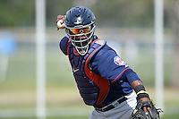 Minnesota Twins Brian Navarreto (13) during practice before a minor league spring training game against the Baltimore Orioles on March 28, 2015 at the Buck O'Neil Complex in Sarasota, Florida.  (Mike Janes/Four Seam Images)