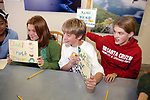 Emma Cook, Dennis Webb, Trillium Neilsen From Pacific Elementary School Working On Signs For Beach Clean Up