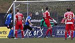 Saarbr&uuml;ckens Kevin Behrens (3.vl.) trifft zum 1:0 beim Spiel in der Regionalliga Suedwest, 1. FC Saarbruecken - Wormatia Worms.<br /> <br /> Foto &copy; PIX-Sportfotos *** Foto ist honorarpflichtig! *** Auf Anfrage in hoeherer Qualitaet/Aufloesung. Belegexemplar erbeten. Veroeffentlichung ausschliesslich fuer journalistisch-publizistische Zwecke. For editorial use only.