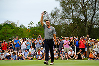 Adam Scott (AUS) wins on the 18th green during round 4 of the Australian PGA Championship at  RACV Royal Pines Resort, Gold Coast, Queensland, Australia. 22/12/2019.<br /> Picture TJ Caffrey / Golffile.ie<br /> <br /> All photo usage must carry mandatory copyright credit (© Golffile   TJ Caffrey)
