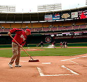 Washington, D.C. - April 3, 2005 -- Groundskeepers prepare the field prior to the exhibition game at RFK Stadium in Washington, D.C. on April 3, 2005.  The New York Mets became the first visiting teamto play the Washington Nationals at home..Credit: Ron Sachs / CNP.(RESTRICTION: NO New York or New Jersey Newspapers or newspapers within a 75 mile radius of New York City)