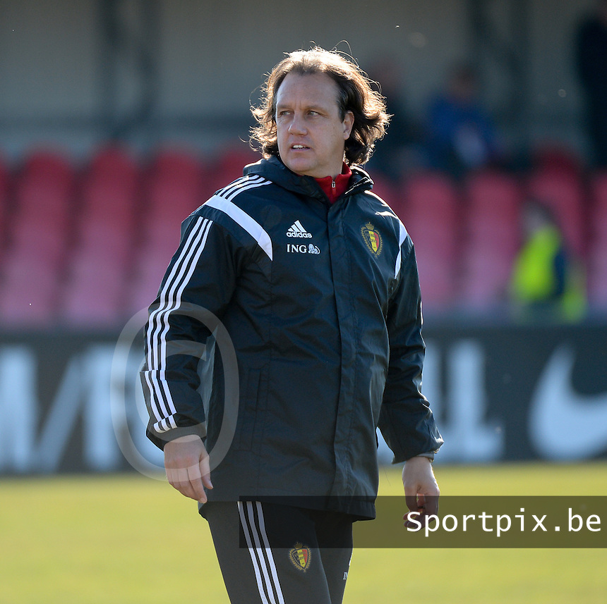 20150312 - GENDT , NETHERLANDS  : Belgian assistant coach David Van Renterghem pictured during the soccer match between Under 17 teams of  Belgium and Northern Ireland , on the first matchday in group 3 of the UEFA Elite Round Under 17 at De Bataven Stadion , Gendt , The Netherlands . Thursday  12 th March 2015 . PHOTO DAVID CATRY