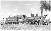 Right side view of K-27 #454 switching.<br /> D&amp;RGW  Montrose, CO  Taken by Richardson, Robert W. - 8/9/1951