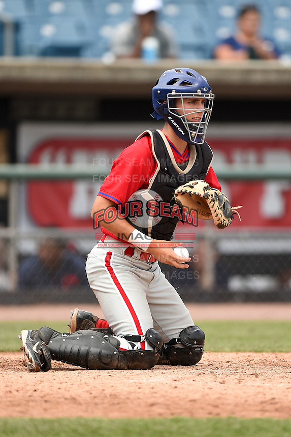 Zac Susi (50) of Southington High School in Southington, Connecticut playing for the Philadelphia Phillies scout team during the East Coast Pro Showcase on August 1, 2014 at NBT Bank Stadium in Syracuse, New York.  (Mike Janes/Four Seam Images)