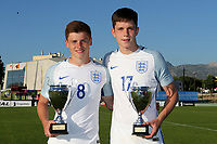 Joint top scorers of the Tournament. Harvey Barnes and George Hirst celebrate with their trophies during England Under-18 vs Ivory Coast Under-20, Toulon Tournament Final Football at Stade de Lattre-de-Tassigny on 10th June 2017