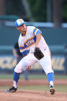 James Kaprielian #11 of the UCLA Bruins pitches against the Stanford Cardinal at Jackie Robinson Stadium on May 2, 2014 in Los Angeles, California. UCLA defeated Stanford, 7-2. (Larry Goren/Four Seam Images)