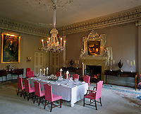 The dining room with plasterwork by Joseph Enzer was originally William Adam's entrance hall and converted to its present purpose in the 1830s