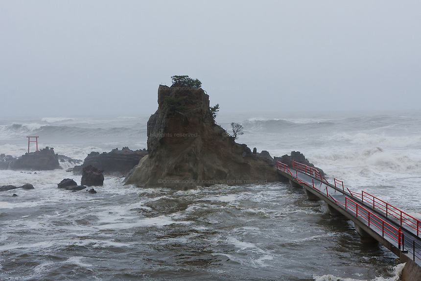 Rough seas and tsunami damage around Hatachi Jinja in Iwaki, Fukushima, Japan. Thursday May 3rd 2012