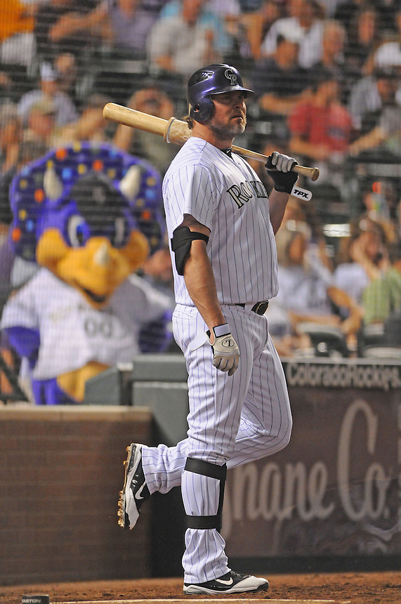 28 JUNE 2011: Colorado Rockies first baseman Jason Giambi (23) prepares to pinch hit as Rockies mascot Dinger hangs out among the fans during a regular season interleage game between the Chicago White Sox and the Colorado Rockies. The Rockies beat the White Sox 3-2 in 13 innings.   *****For Editorial Use Only*****