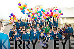Pictured at the Balloon launch at Mounthawk school on Thursday were Sam Kavanagh, Ryan Williams, Richard Raftery. Back Michael McGowan, Stacy Conway, Neill Finnegan, Aine Daly, Annie O'Dowd, Dylan O'Connor Desmond and Paul Dalton.